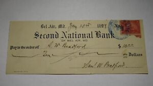 $10 1899 Bel Air Maryland Cancelled Check! Obsolete Currency Bank Note Bill!