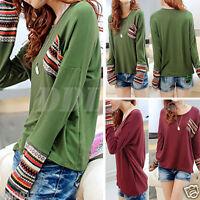 Women Loose Pullover T-Shirt Long Sleeve Stripe Casual Top Blouse Pocket Shirt
