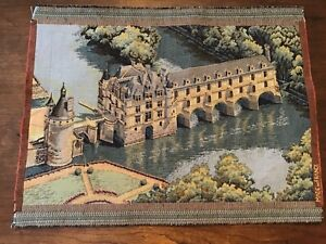 "French Tapestry of the Chateau de Chenonceau in France 15"" high and 20"" wide"