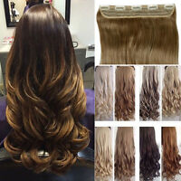 "17-30"" 100% Natural 3/4 FULL HEAD CLIP IN HAIR EXTENSIONS curly brown as human"