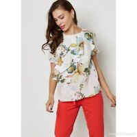 Dorothy Perkins Floral Print Ruffle Top Ivory Size UK 12 rrp £26 DH096 AA 12