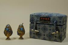 👀 Chinese Gilt Silver Cloisonné Butterflies Salt & Pepper Shaker Set.W Box.