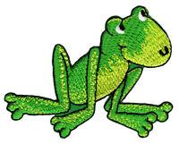 bk36 Frosch Grün Kinder Aufnäher Bügelbild Märchen Flicken Patch 7,5 x 5,8 cm