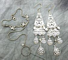 Belly Dancer Slave Bracelet Ring Pierced Earring Set 7 inch Silver Chain 719f