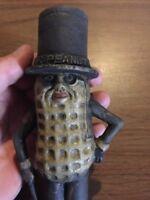 Mister Peanut Cast Iron Piggy Bank Toy Antique Style Solid Metal Patina Paint Ex