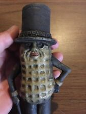 Mr. Peanut Cast Iron Piggy Bank Toy Antique Style Solid Metal Patina Painted Vg!