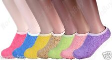Non Skid 6 Pairs Womens Soft Cozy Fuzzy Warm Solid Low Slipper Socks Size 9-11