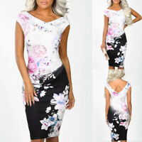 Women V Neck Power Trip Multi Floral Print Party Evening Bodycon Midi Dress
