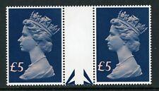 Great Britain Scott #MH176 MNH GUTTER PAIRS Queen Elizabeth II £5 $$