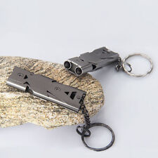 Stainless Double Tube Lifesaving Emergency SOS Outdoor Survival Whistle Grey