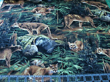 1 Yard Quilt Cotton Fabric - Springs Wild Wings Forest Prowler Cougar Woods