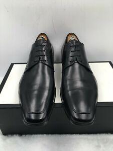 Santoni Prichard 11927 Black Leather Oxfords Dress Shoes Lace Up Men's Size 10