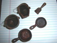Vintage Mini Miniture Cast Iron Cookware Set Coal Scuttle iron Rusted