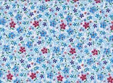 Blue Floral Polycotton Fabric (112cm wide)