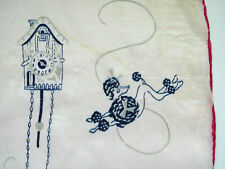 Vtg Pure Silk Scarf Handkerchief Pink Playful Poodles Cuckoo Clock Sold As Is