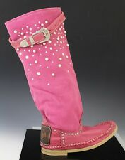 Hector Italian Leather Pearl Studs Moccasin Boots Shoes SCAMOSCIATO Pink US 8