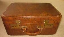 Vintage Brown Faux Croc Leather Overnight Vanity Case Suitcase
