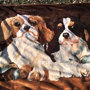 "Vintage? Cocker Spaniels Reversible Soft Fleece Large Throw Blanket  64"" X 76"""