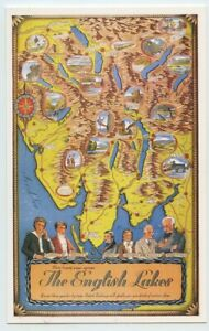 British Railways Pictorial Map Poster Lakes District Postcard Dalkeith unposted