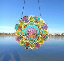Suncatcher Stained Glass Mandala Lotus art Window Decoration Yoga Gift