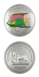Democratic Rep Of Congo Kaiserfish 2004 10 Francs Colored Proof Silver Crown