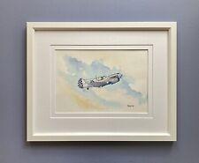 """Original Framed Watercolour """"Curtiss P-40 Warhawk """" WW2 Fighter Aircraft."""