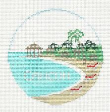 CANCUN, MEXICO handpainted Needlepoint Canvas Ornament by Kathy Schenkel RD.