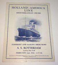 Rare Antique S.S. Rotterdam Itinerary & Mailing Directions Program C.1926 Cruise