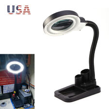 Magnifying Crafts Glass Desk Lamp 5X 10X Magnifier With 40 LED Lights Desk Work