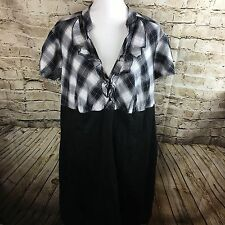 Torrid Women's Black Plaid Wiggle Short Sleeve Dress Size 24
