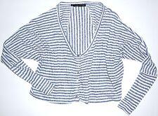 Patterson J. Kincaid Cardigan Button Tee Sz. XS Heather Blue Stripe Cotton Blend