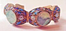 RARE Chinese Export Art Deco Enameled Bracelet Gold Silver Jade Trade Beads 45gr