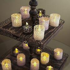 Laser Cut Holder Tealight  Wedding Candle  Yarn LED Paper Wraps 48 Pcs Gold