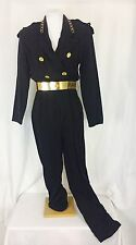 Vintage 1970's Military Style Disco Jumpsuit W/Gold Belt. Med. Excellent.