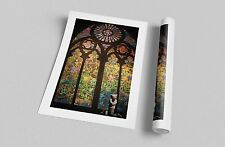 "Banksy Stained Glass Cathedral. Archival Canvas Print 30""x20"""