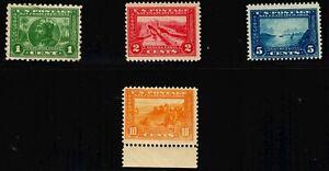 US #398/399/400/401 Panama Pacific: 1c Used,2c PH,5c MH,10c MNH Stamp (CV $283)
