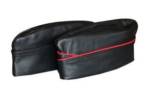 Genuine Leather Adult Gay Army Soldier Side Envelope Cap Hat Bluf Black Red Trim