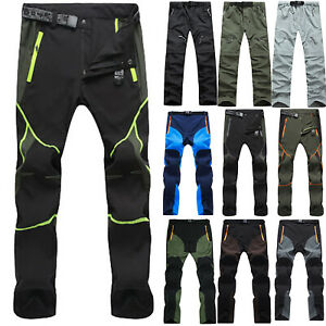 Mens Soft Shell Casual Hiking Trousers Tactical Cargo Work Pants Outdoor Summer