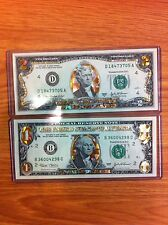 1 AND 2 DOLLAR -22 K  GOLD HOLOGRAM CURRENCY SET-LEGAL USA-GIFT  NOTES, 2 IN 1