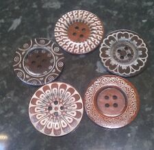 5 Extra Large Brown Wooden Buttons with Boho Designs 60mm 6cm Mixed