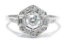 Estilo Art Deco Diamantes Anillo 0.90ct Oro Blanco 18ct