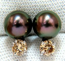 $4000 14KT 9MM NATURAL TAHITIAN HIGH LUSTER PEACOCK PEARL FANCY DIAMOND EARRINGS
