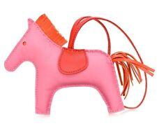 NIB HERMES Rodeo Grigri Horse Leather Bag Charm MM Rose Azalea Pink Orange Red