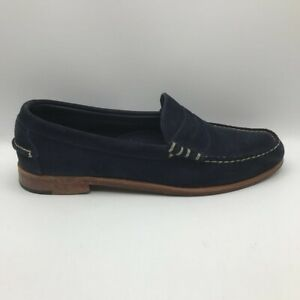 Allen Edmonds Mens Sea Island Penny Loafers Blue Suede Moc Toe Slip Ons 12 D
