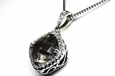 14K White Gold Diamond and Smoky Quartz Pendant . Chain Not Included !