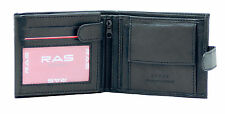Mens RFID Blocking Soft Black Leather Wallet ID Window Zip And Coin Pocket 2511