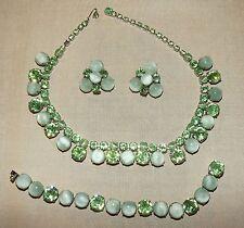 VINTAGE NECKLACE BRACELET Clip EARRINGS Greens Crystal Moonstone Rhinestones SET
