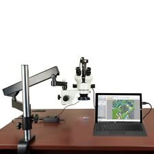 Omax 7X-45X Articulated Arm Zoom Stereo Microscope+144 Led Ring Light+2Mp Camera