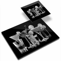 Glass Placemat  & Coaster BW - Fun Cocktail Drinks Alcohol  #39012