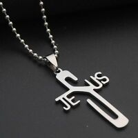 Fashion Men Jewelry Women Pendant Chain JESUS Necklaces Stainless Steel